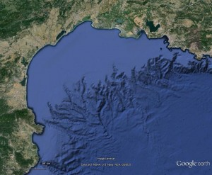 Projection satellitaire du parc marin golf du Lion et de son plateau continental