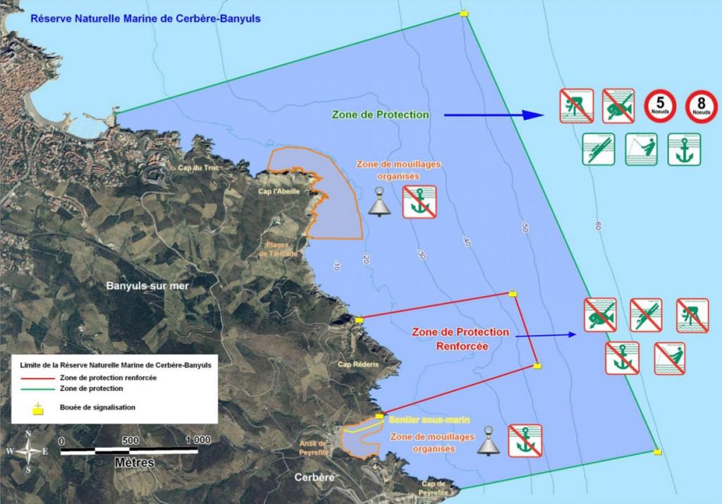 Plan de situation de la réserve marine de Banyuls-Cerbère
