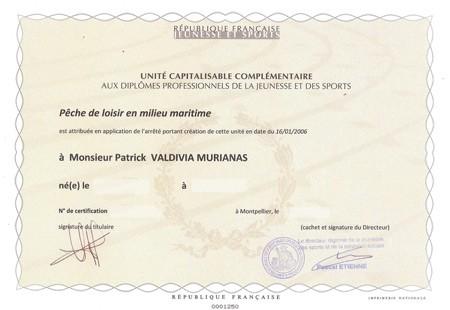 Unité complémentaire qualifiante - moniteur guide de peche en milieu maritime